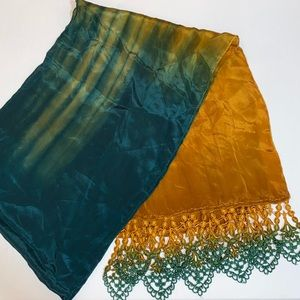 Green and yellow silk scarf with lace detail